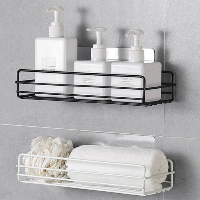 Threeofus 다용도 욕실 주방 접착식 철제 수납 선반, 2개, 블랙