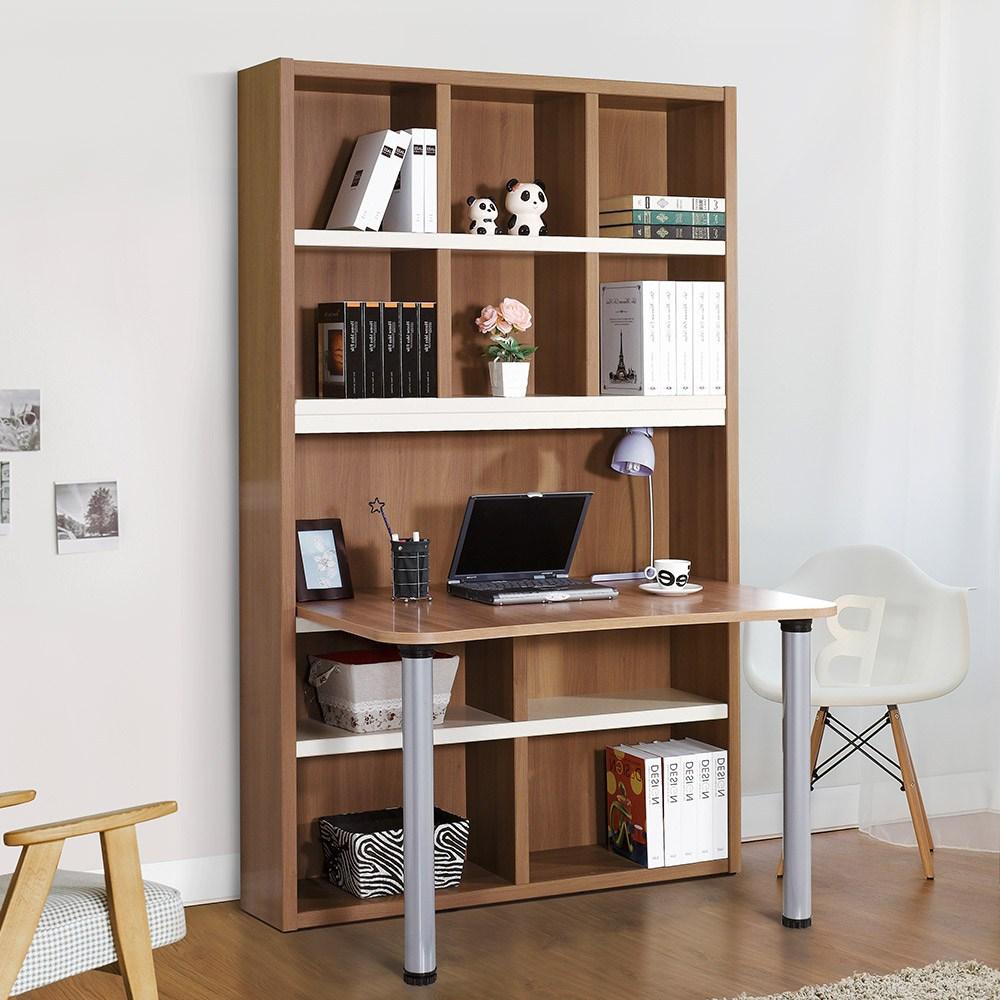 동서가구 베누스 1200 공부방 정면 책상 책장세트, 브라운화이트