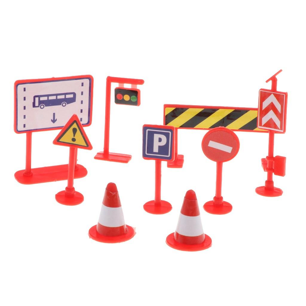 STK9pcs 도로 표지판 교통 표지판 장난감 도로 교통 지식 학습 빨간색
