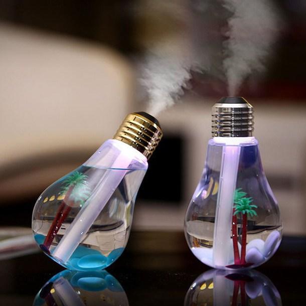 LANYI LED 전구 USB 사무실 휴대용 미니 환절기 가습기 실버