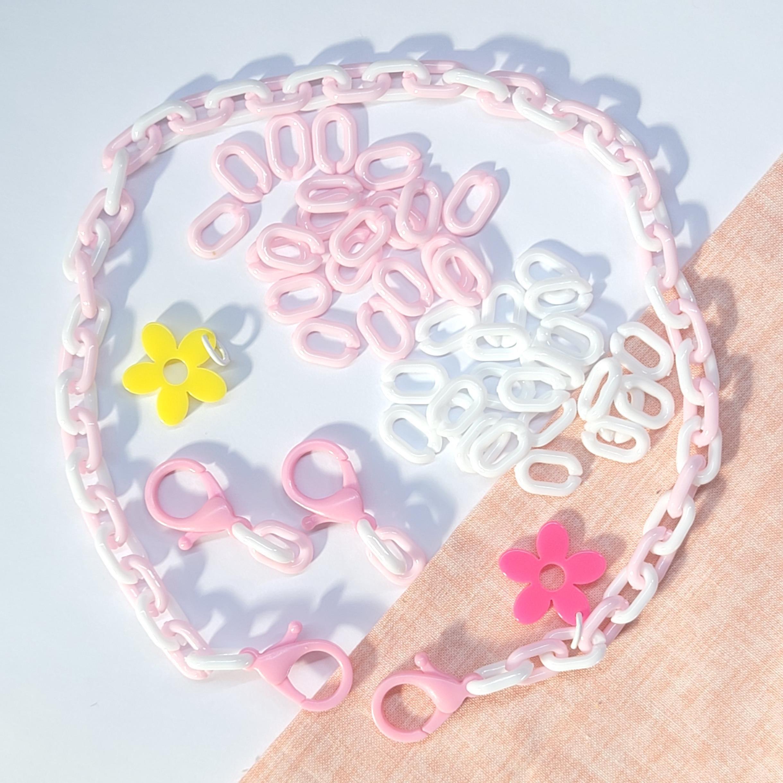해피쑤 토이체인 마스크 끈 스트랩 만들기 재료 키트 펜던트포함, 분홍, 구름