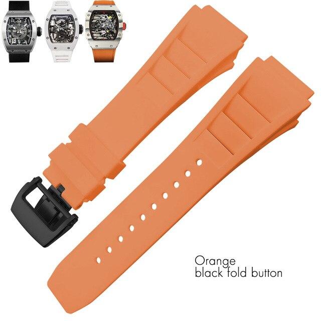 리차드 블랙 화이트 옐로우 밀 스트랩 스프링 바 스테인레스 스틸 버클 시계 액세서리에 대한 25mm 고무 실리콘 시계 밴드, Orange black fold