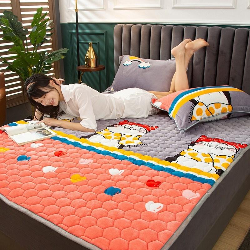 토퍼 템퍼 매트리스 침구 기타 겨울 기모 쿠션 학생 기숙사 싱글 담요 침대, AS_1.0 x 2m