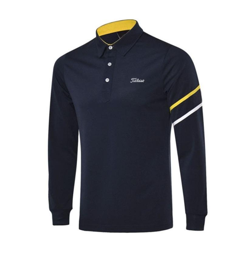 타이틀리스트 골프 남성 저지 스포츠 긴팔 티셔츠, 로얄 블루