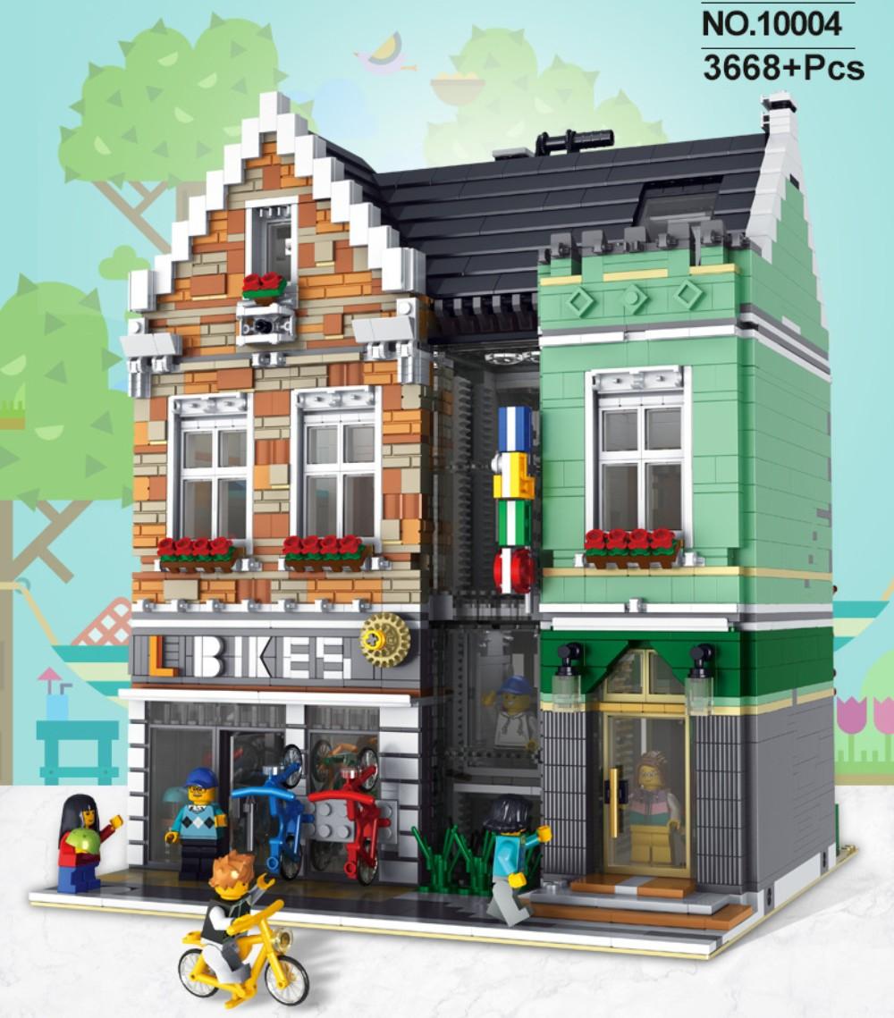 레고 호환 블록 세계 일주 스트리트 랜드마크 빌딩 조립 완구 키덜트 집콕 취미, 연두색 자전거 매장 3668매