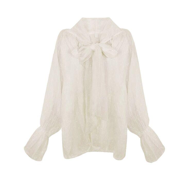 여성 겨울 블라우스 나비 넥타이 레이스 트럼펫 소매 셔츠 가을과 얇은 모든