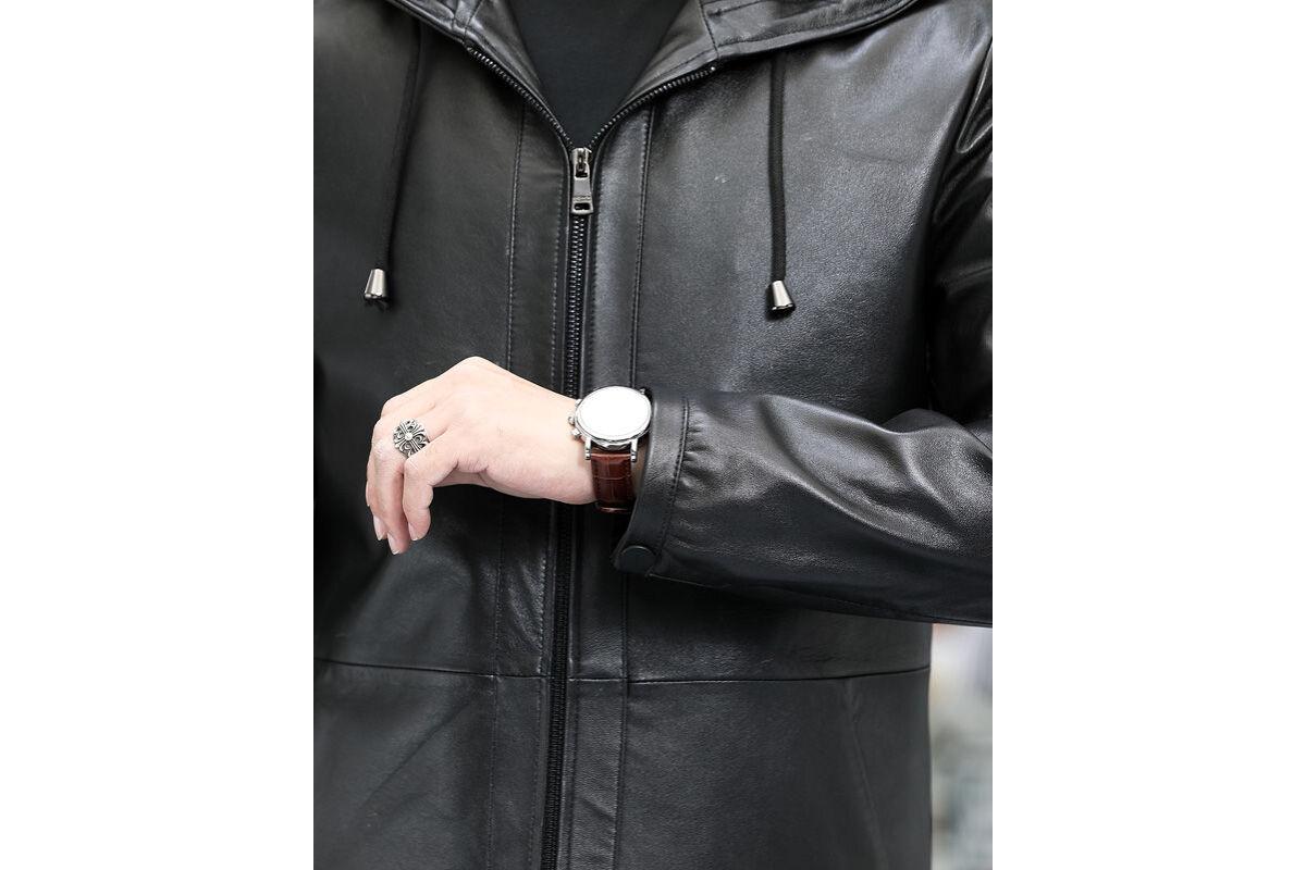 (관부가세포함) Caesar 2020 fall new first layer of dermal sheep leather men hooded coat the uncoated optical Pia l-JD10020257269358