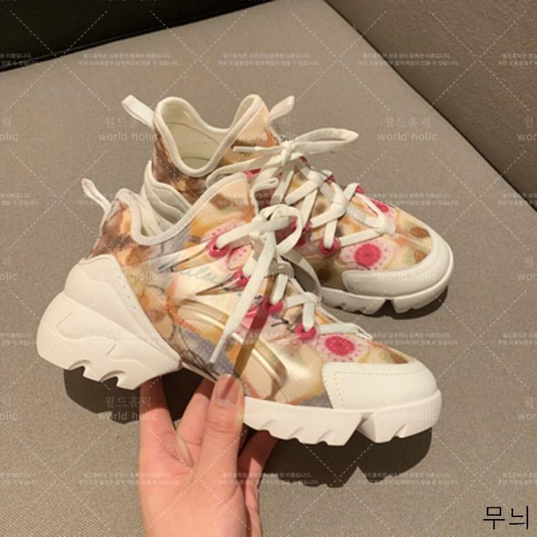 월드홀릭 여성 봄 어름 통굽 웨지힐 키높이 컬러품 패션운동화 hLDX03