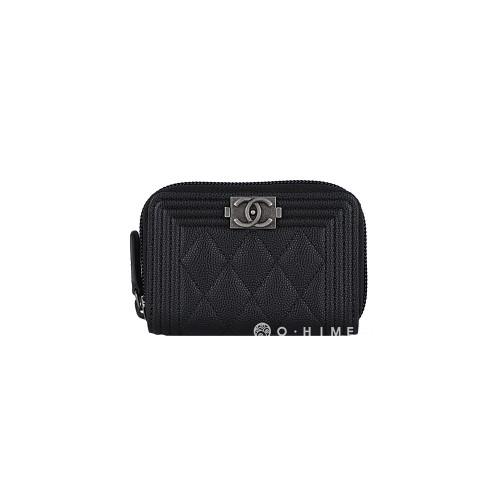 [샤넬] 카드코인 지피지갑 : 보이 캐비어 블랙+실버
