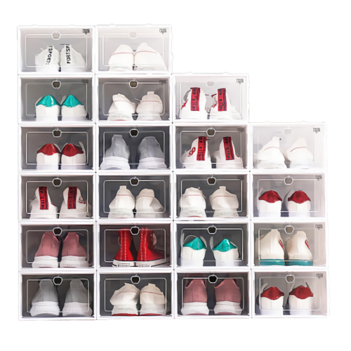 리빙톡 조립식 투명 신발정리함 12개 1세트 화이트 대 33x23x14.5cm 신발정리대, 12개입