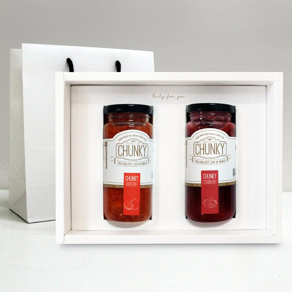 청키 수제청 설 선물세트 과일청 선물, 1세트, 자몽청+딸기청
