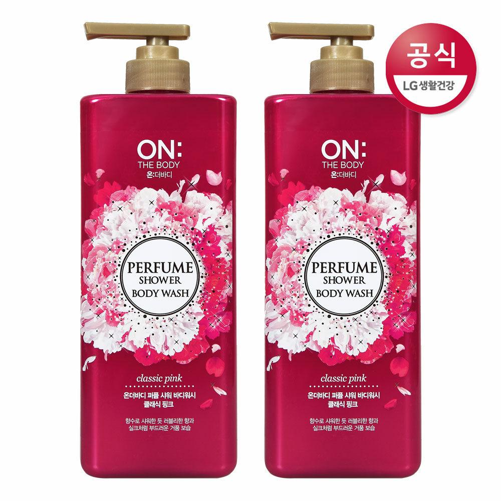 [신세계TV쇼핑]온더바디 클래식 핑크 퍼퓸 샤워 바디워시 900g x2개, 2