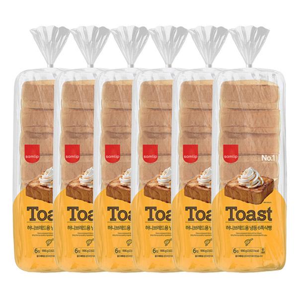 삼립 허니브레드용 냉동 6쪽 식빵, 996g, 6개
