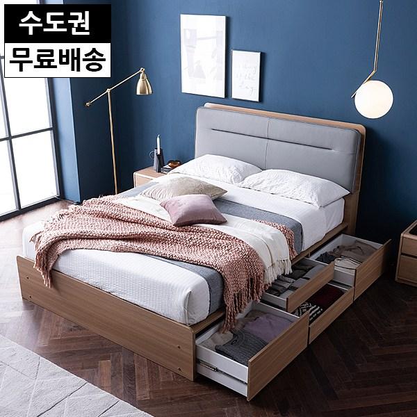 멜 서랍형 2단 수납 호텔 부부 침대프레임(퀸 Q), 그레이오크
