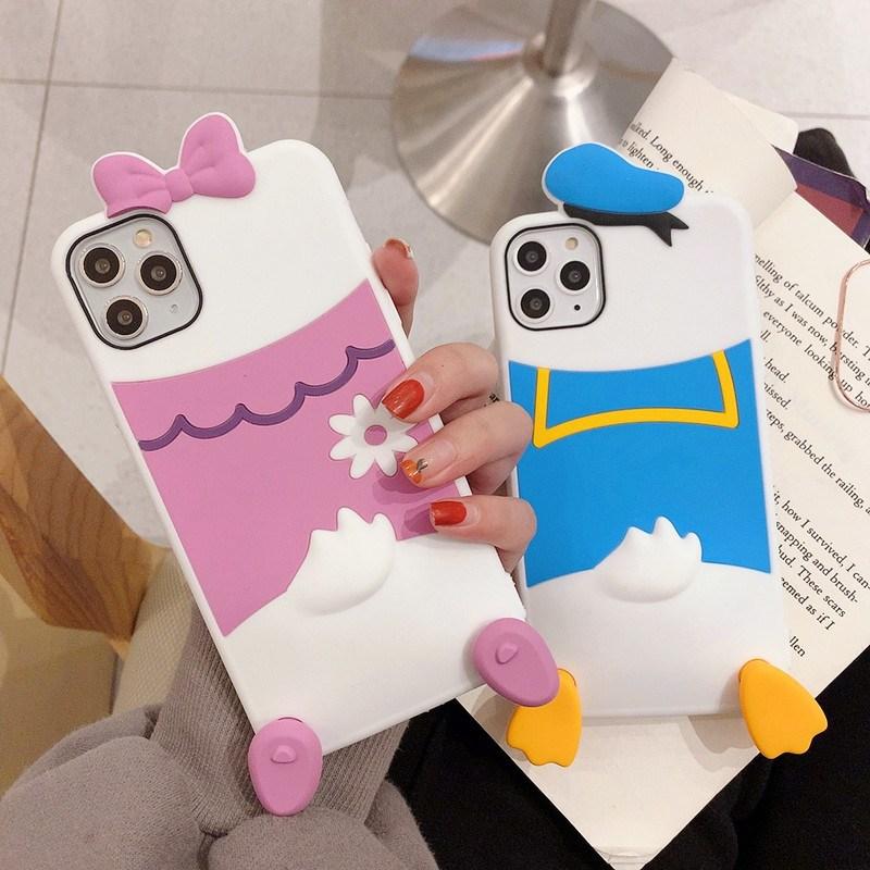 퐁퐁폰 귀여운 아이폰 SE2 11 PRO MAX 커플 리본 핑크 블루 입체 캐릭터 케이스 휴대폰