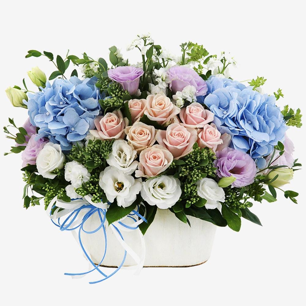 99플라워 2시간 당일 꽃배달서비스 꽃바구니 꽃다발 생화 장미 생일 꽃 선물, 02.[ST-A1661]수국장미바구니