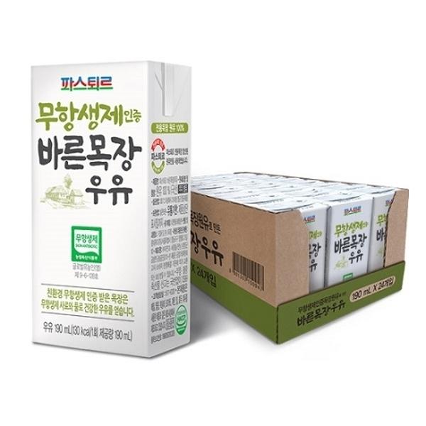 파스퇴르 무항생제 인증 바른목장 멸균우유 190ml X 24팩, 단일상품, 기타