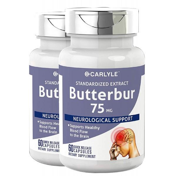 [Carlyle] 편두통 두통 포뮬러 - - 비 GMO 글루텐 PA 무료 칼라일 머위 추출물 75 ㎎을 120 캡슐 표준화