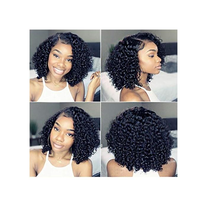 Newa Hair 13x6 레이스 프론트 인모 가발 사전 뜯어낸 짧은 레이스 앞면 가발 베이비 헤어 곱슬한 사람, One Size, 130 density 13x6 Lace Front Wig