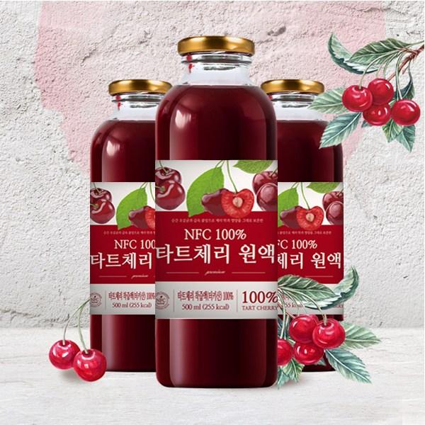 큰나무 100% NFC 착즙 몽모랑시 타트체리 쥬스 원액 주스, 3병, 500ml