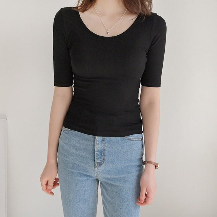 데일리앤 비트윈 슬림핏 5부 스판 레이온 무지 티셔츠