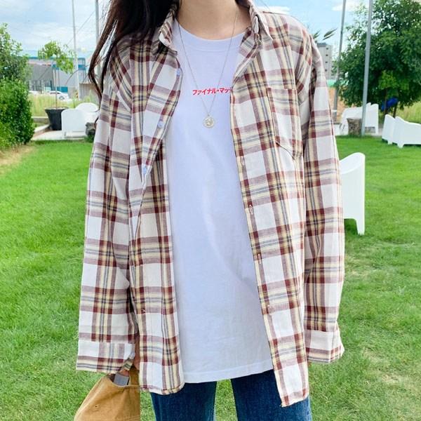 티데일리 [로켓] 남녀공용 카카오 체크 오버핏 남방 캐주얼 셔츠
