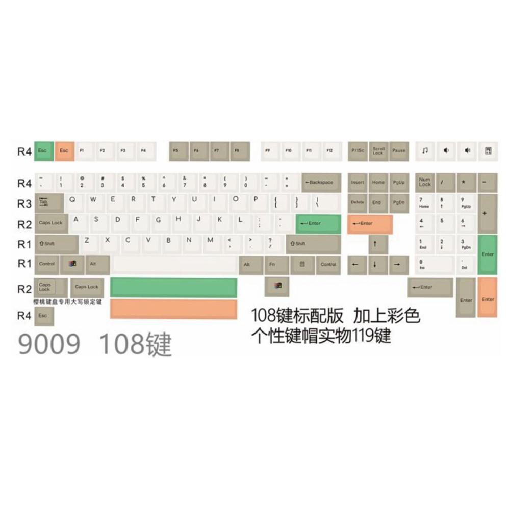해피해킹키캡HHKB PBT 그린, 108 결합, 공식 규격.