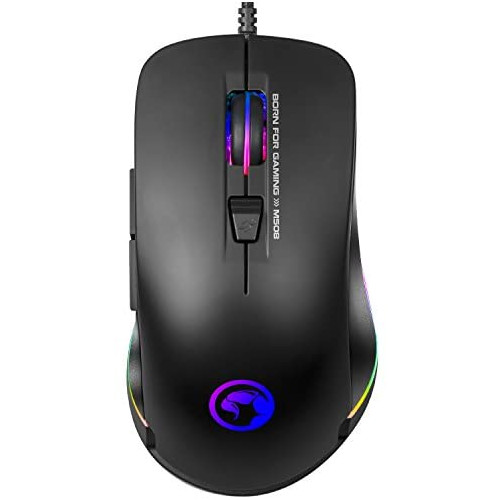 게이밍마우스 MARVO Advanced Gaming Mouse RGB Backlit Laptop Mouse 3200 DPI 7 Button USB Wired Computer Mouse with Adjustable Backlight Gaming Mice Fit, 본문참고, Color = 5802
