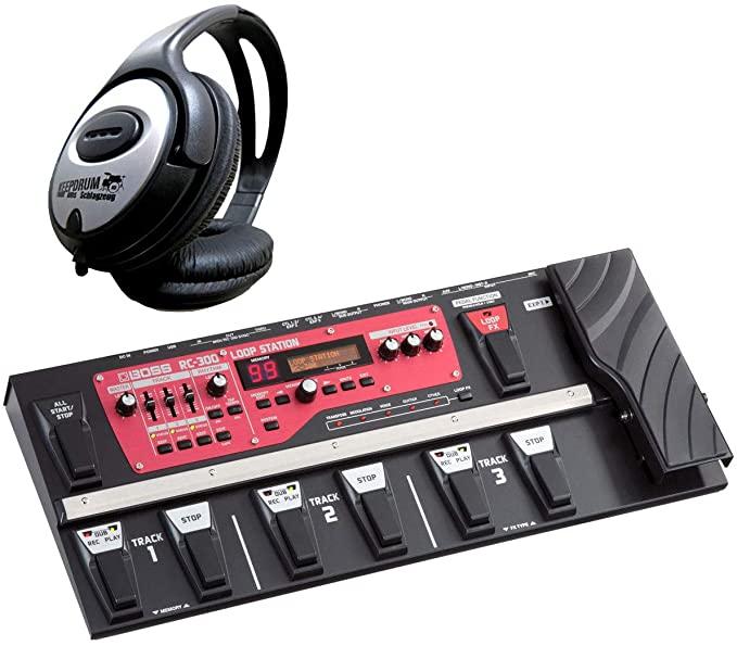 보스 RC-300 루프 스테이션 루퍼 페달과 드럼 헤드폰을 유지