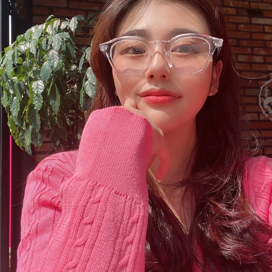 VANANA2 커플 클리어 뿔테 투명 라운드 안경