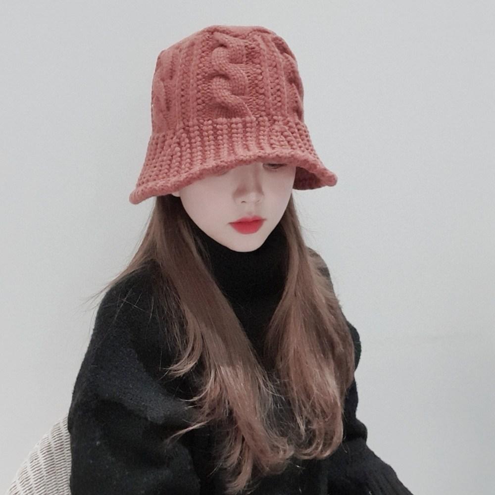 [4컬러] 꽈배기 니트 뜨개짜임 탄력밴드 와이어 겨울 벙거지 버킷햇 모자