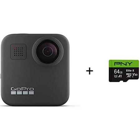 [아마존베스트]GoPro MAX - Waterproof 360 + Traditional Camera + PNY Elite-X 64GB U3 microSDHC Card, MAX 360_64GB SD Card