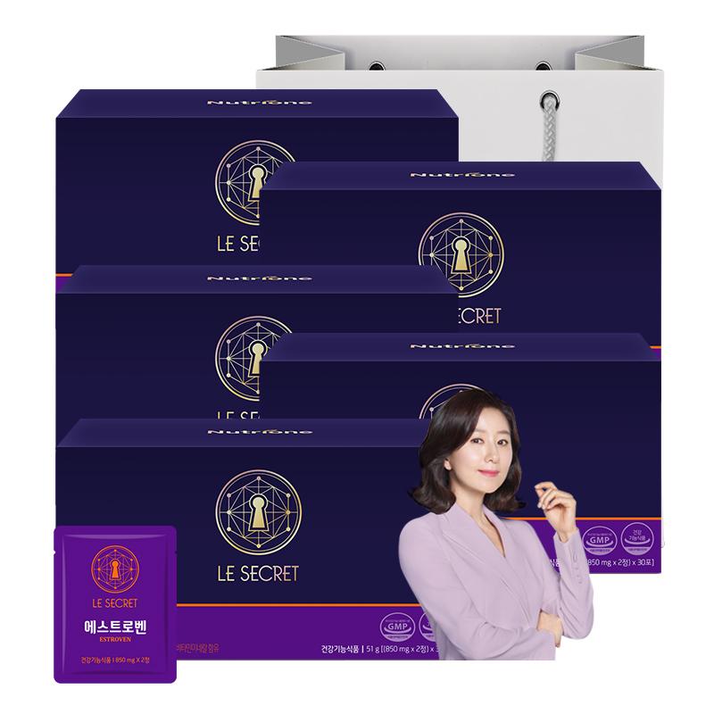 뉴트리원 추석 엄마 선물 NO.1 피로 개선 여성 갱년기 영양제 폐경기 건강관리 식물성 에스트로겐 홍삼 건강기능식품 쇼핑백증정 + 활력환, 5box, 30포