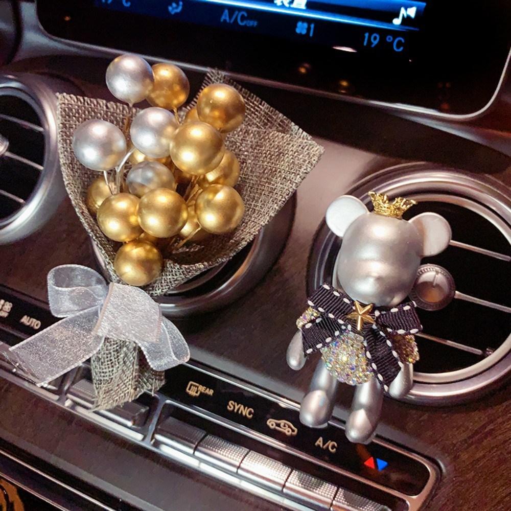 베어브릭 명품 수제 피규어 차량용 송풍구 방향제 고퀄리티 리필형 새차 선물, 부케 그레이 랩 플라워 페이퍼 + 실버 보우 베어개