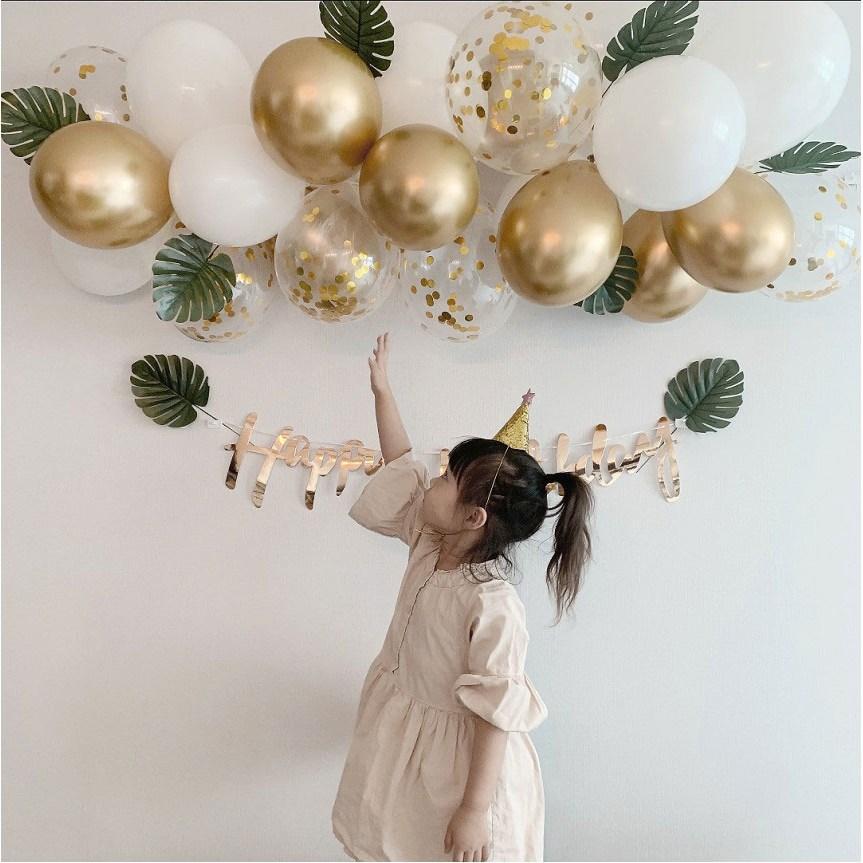 [로켓발송] 골드 벌룬 클라우드 풍선 가랜드 패키지 생일파티용품 생일 축하 HBD, 몬스테라패키지+해피벌스데이가랜드