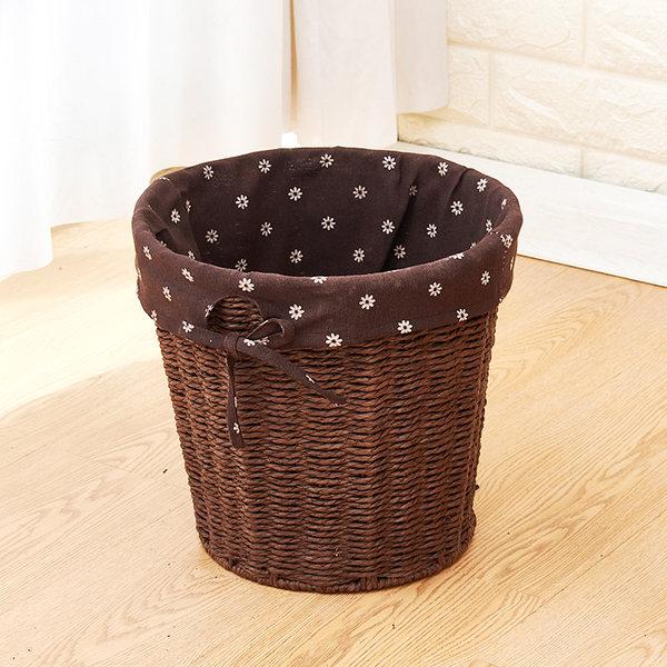 라탄공예 내집꾸미기 여름인테리어 다용도 라탄바구니, 라운드 커피 색 종이 밧줄 데이지 천