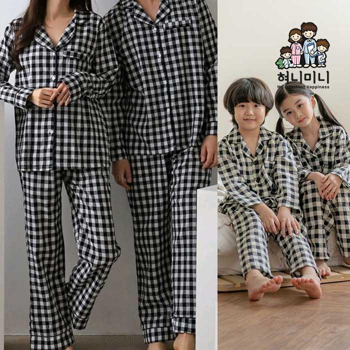 [혀니미니] 400135 여자잠옷 남자잠옷 패밀리잠옷 아동잠옷 체크 가족잠옷 커플잠옷