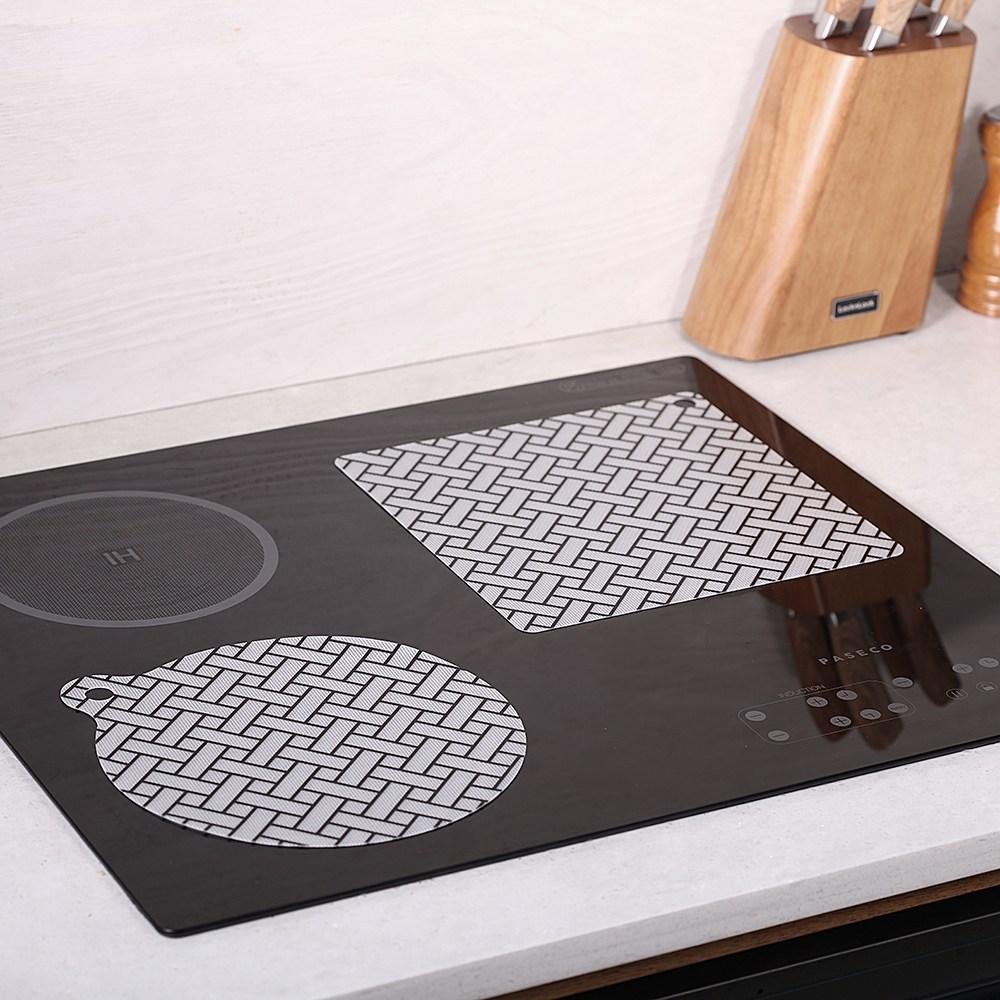 굿홈 인덕션 보호 매트 보호용 커버 패드 시트 깔판 사각 냄비 에어프라이어 받침 세트, 라탄(원형2+정사각1)