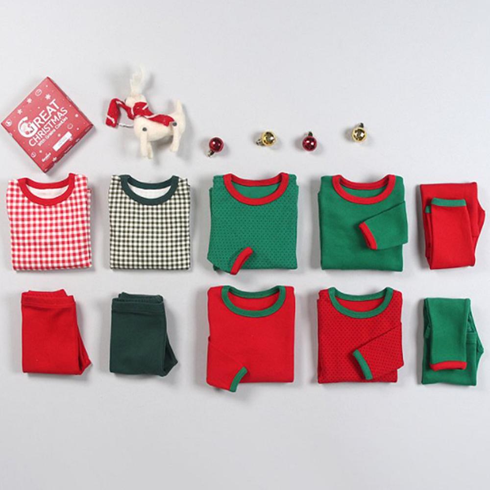 콩알옹알 크리스마스 무지 체크 도트 도톰실내복 1세-8세 아기 유아 아동 면 겨울 내복 잠옷 내의