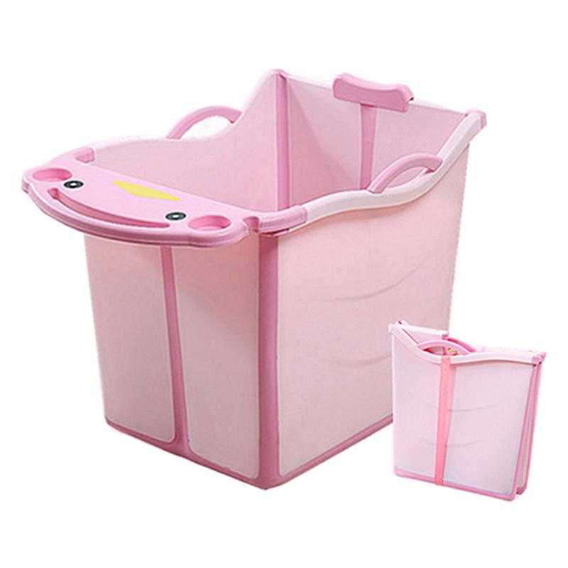 쥬베스 가정용 어린이 접이식 욕조 아기욕조-Q1398XR, 핑크(52x40x55cm)