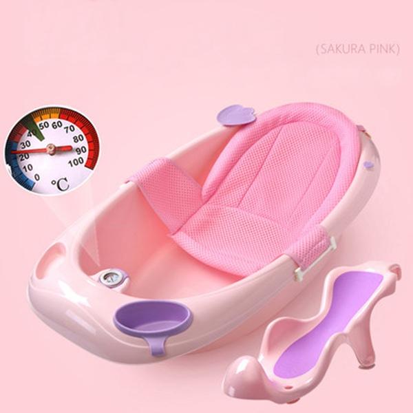 뽀뽀아가 어린이 욕조 신생아 유아 목욕통 온도계 ET0064 유아욕조, 핑크+등받이+망사시트