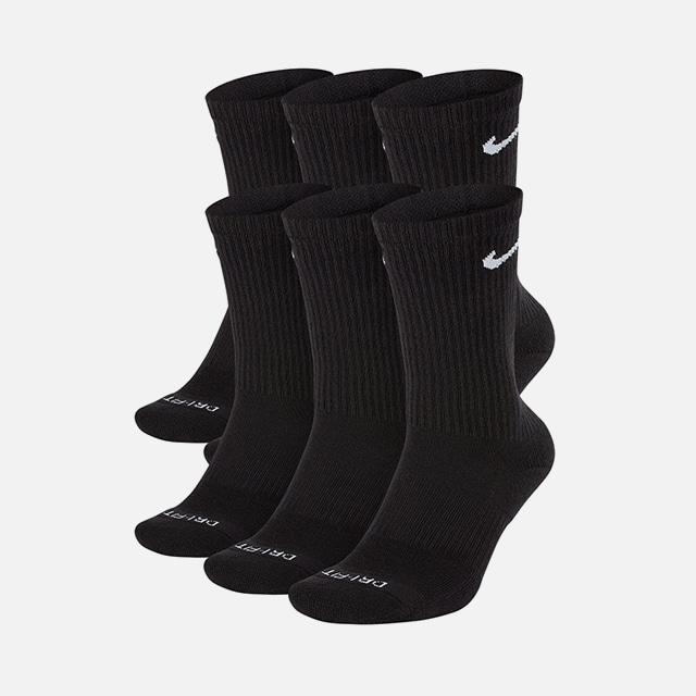 나이키 에브리데이 스우시 장목 양말 6팩 블랙