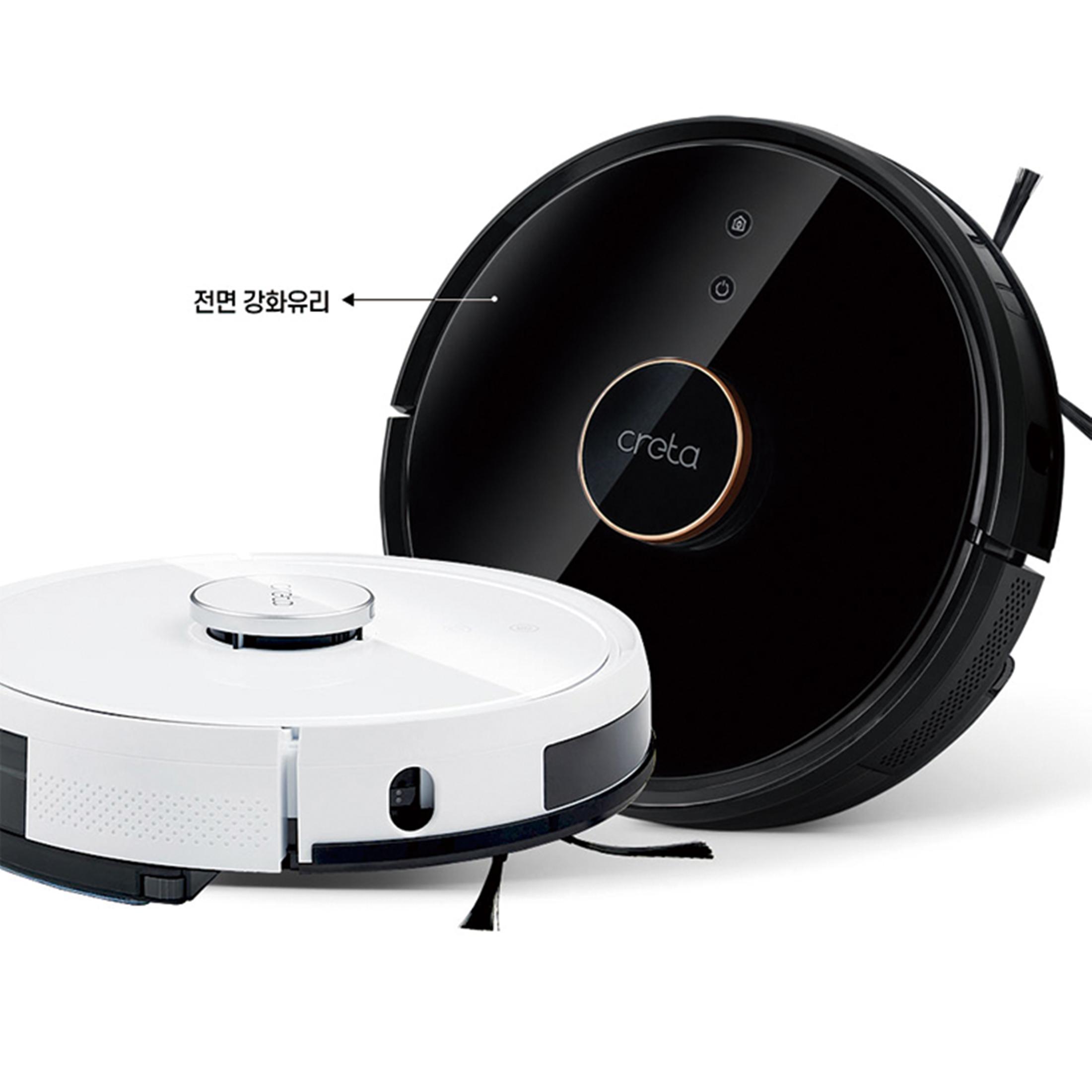 정품 최신기술 로봇청소기 고급스러운 디자인 리모콘 앱가능! 물걸레로봇청소기 최강흡입력 크레타 G3 블랙 화이트
