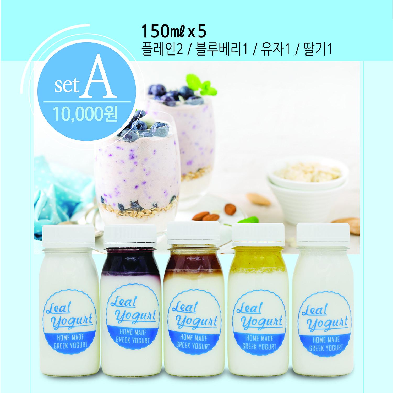 릴 요거트 그릭요거트 ( 무설탕 플레인 2 + 블루베리 1 + 유자 1 + 딸기 1) 150mlx5개 (1세트), 5개, 150ml