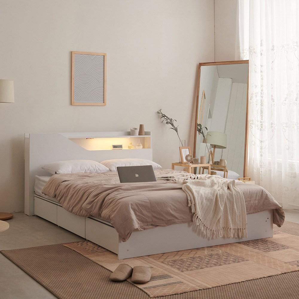 크렌시아 젠느 LED 리노 서랍형 슈퍼싱글 침대 SS+본넬 매트리스, 화이트