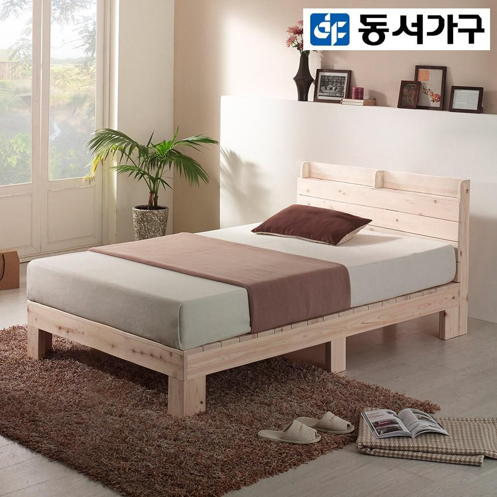 동서가구 루니 편백나무 수납헤드형 통원목 SS 침대 프레임 DF910006-1, 내추럴