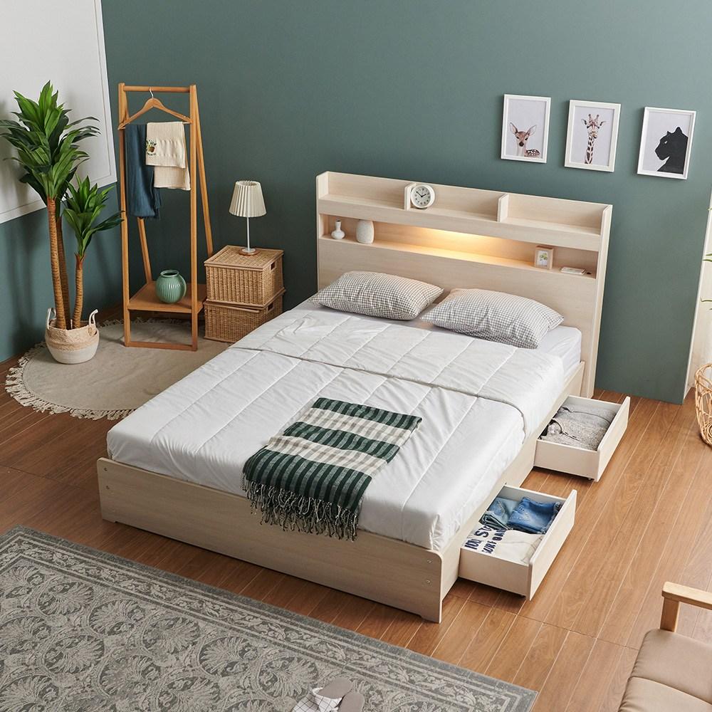 크렌시아 라피스 LED 일반서랍형 슈퍼싱글 퀸 침대+본넬 매트리스+방수커버, 메이플