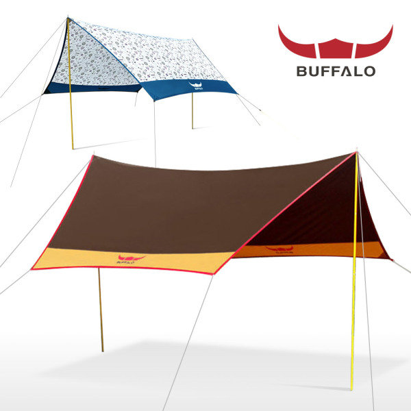 [버팔로스포츠] 컴팩트 헥사타프/2500mm내수압/UV코팅/그늘막 캠핑용품 텐트그늘막, 상세 설명 참조, 모델명:버팔로 뉴 컴팩트 헥사타프(머스타드)