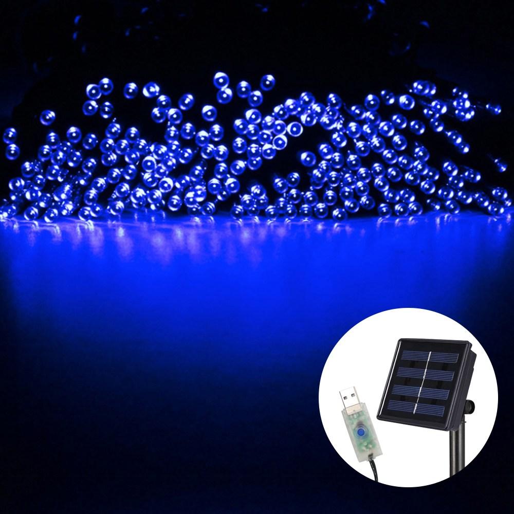 21세기트랜드 태양열 USB 꼬마 전구 줄조명, USB+태양열 22M/200구 블루