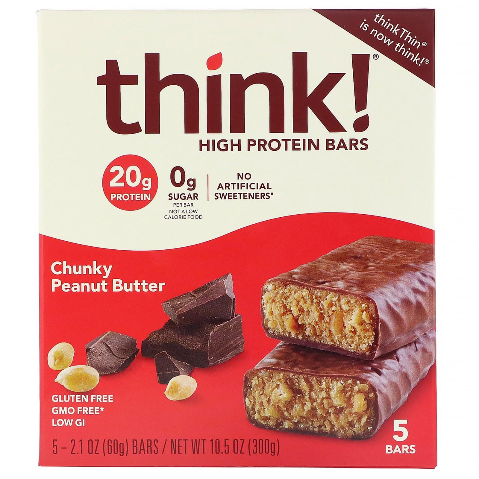 씽크씬 고단백질 바 청키 땅콩 버터 5개 1 각 60g 프로틴바, 1개, -